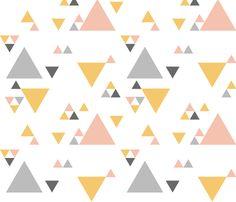 LUMBAR PILLOWS Triangles - Pink, Marigold, Grey,