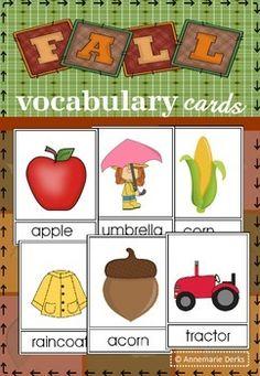 Fall Vocabulary cards  -- Free