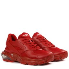 Red Valentino Red Leather And Mesh Bounce Sneakers Valentino Sneakers, Valentino Red, Valentino Garavani, Red Sneakers, Sneakers For Sale, High Top Sneakers, Sneakers Nike, Red Leather, Things That Bounce