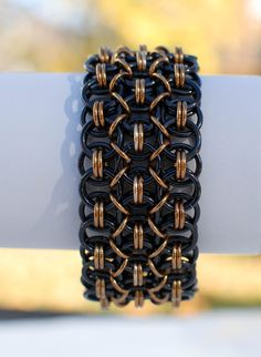 Black and Bronze Wide Helm Chainmaille Bracelet - Ready to Ship on Etsy, $40.00
