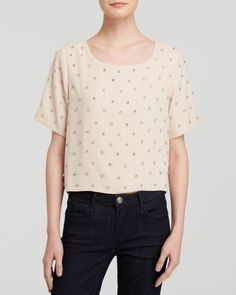 Feminine and relaxed. Alythea Blush Embellished Tee.