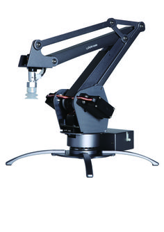uArm Metal is a desktop robotic arm bult with an open source API. Controlled with Arduino-com[atble board, uArm is the most verstile tool for makers.