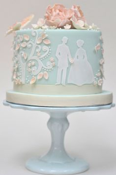 "Blue Fairytale Wedding Cake - ""I like the blue and pink colors on this one."" - Megan"