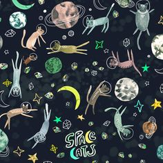 cosmic cats by katie vernon art + illustration Art And Illustration, Pattern Illustration, Illustrations Posters, Design Illustrations, Textures Patterns, Print Patterns, Kids Prints, Art Prints, Design Textile