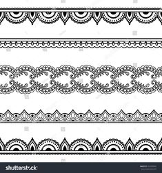 Set of seamless borders for design, application of henna, Mehndi and tattoo. Decorative pattern in ethnic oriental style. Mandala Art Lesson, Mandala Drawing, Mandala Tattoo, Estilo Mehndi, Henna Tattoo Designs, Mehndi Designs, Rosary Bead Tattoo, Henne Tattoo, Tattoo Band