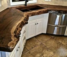 Remodeling Kitchen Countertops Little Branch Farms Rustic real wood Countertop. - Nothing matches the warmth and beauty of natural wood countertops. Whether it is a wide plank wood countertop or is accented with a natural live edge wood Rustic Kitchen, New Kitchen, Kitchen Decor, Rustic Table, Kitchen Ideas, Country Kitchen, Wood Slab Dining Table, Rustic Wood Bench, Rustic Wood Decor