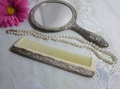 Vintage Comb and Mirror Silver Plated Comb and by MemaAntiques