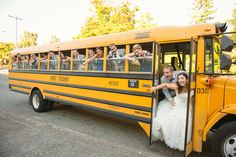 Wedding Transportation by School Bus! Wedding Planning by Simply Wed. www.simplywed.com