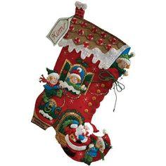 Details about Bucilla 18-Inch Christmas Stocking Felt Applique Kit ...