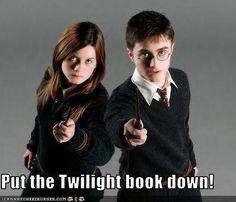LOL #twilight #HP - Put the Twilight book down