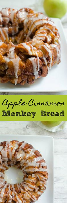 Apple Cinnamon Monkey Bread – easy breakfast recipe that starts with refrigerated cinnamon rolls! The perfect fall breakfast!