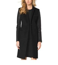 All work and no play make for a dull day. Luckily, you can combine the Two with our tailored coat. Crafted from wool in a sharp, slim silhouette, it features leather at the sleeves and pockets for a touch of urban polish. Wear it over a little black dress and cutout heels for a sleek look from head-to-foot.