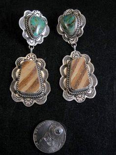 Kingman Turquoise & Anasazi Pot Shard Earrings, Etta Endito
