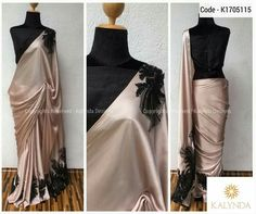 Pairing this classy piece with a heavily sequined black blouse is class apart Simple Sarees, Trendy Sarees, Stylish Sarees, Indian Dresses, Indian Outfits, Satin Saree, Indian Fashion Trends, Saree Look, Elegant Saree