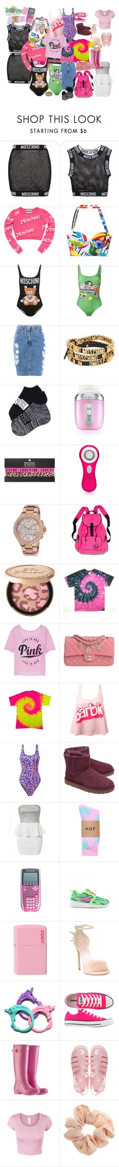 """""""Big haul"""" by selinalindroth ❤ liked on Polyvore featuring Moschino, Clarisonic, Victoria's Secret PINK, Michael Kors, Victoria's Secret, Too Faced Cosmetics, Chanel, Miss Selfridge, Glamorous and UGG"""