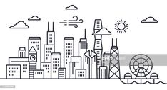 Chicago Skyline Line Drawing High-Res Vector Graphic - Getty Images Chicago Skyline Drawing, Skyline Von Chicago, Line Illustration, Illustrations, Print Design, Design Inspiration, Drawings, Adobe Illustrator, Cocoa
