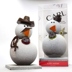 Carl the Snowman from Kate Weiser Chocolate in Dallas is back again! Enjoy Carl the Snowman by watching him melt away in a pot of milk. Inside his belly hides delicious drinking chocolate mix and marshmallows in his head. Give him a stir and enjoy with friends and family!