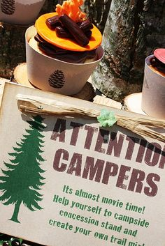 attention campers! create your own trail mix! good idea for a birthday or sleepover #camping #birthday