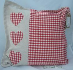 Red Gingham hearts cushion - appliqued hearts by OrchardFruit on Etsy