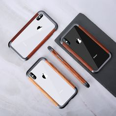 R-just Wood Bumper Metal Aluminum Frame Wooden Phone Case For iPhone Xs Max X - Ideas of Wood Iphone Case Iphone 11, Apple Iphone, Iphone Cases, Iphone Gadgets, Wooden Phone Case, Vintage Phones, Hard Metal, Aluminum Metal, Iphone Models