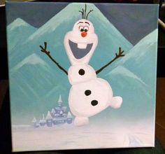 Commissioned piece for a friend's daughter - Olaf, from the movie Frozen. Acrylic on canvas.