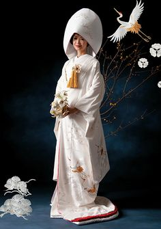 we call this weddingdress Shiromuku. Japanese Wedding Kimono, Japanese Kimono, Weeding Dress, Cute Wedding Dress, Traditional Wedding Attire, Traditional Dresses, Japanese Festival, Kimono Japan, Wedding Costumes