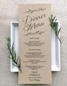 Wedding Menu Card - Rustic Wedding Menu Cards - Kraft - pinned by pin4etsy.com