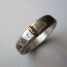 Sterling Silver and Gold Band  Wedding Band by LunasaDesigns