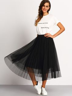To find out about the Mesh Pleated Elastic Waist Skirt at SHEIN, part of our latest Skirts ready to shop online today! Fashion Mode, Look Fashion, Fashion Clothes, Fashion Outfits, Skirt Fashion, Fashion Brands, Dance Outfits, Skirt Outfits, The Dress