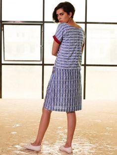 Indigo-Red Button Down Yoke Ikat Handloom Cotton Dress