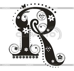 Decorative letter R with flowers | Stock Vector Graphics | ID 3077338