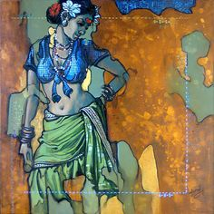 """Ramachandra Kharatmal, the """"Youngest National Award Winner"""" in India, a realist of immense ability t. Mural Painting, Figure Painting, Indian Art Gallery, Rajasthani Art, Indian Art Paintings, Cool Art Projects, Silhouette Art, Erotic Art, Cool Artwork"""