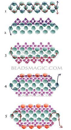 Free pattern for bracelet Dark Violet - 2----------------------U need: bicone beads 4-5 mm seed beads 11/0