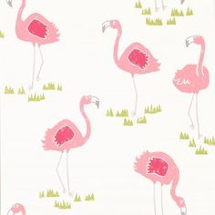 Scion Felicity Flamingo Blancmange/Chalk Wallpaper - 111277 - Guess Who Wallpapers Collection Modern Wallpaper, Kids Wallpaper, Wallpaper Online, Print Wallpaper, Wallpaper Roll, Designer Wallpaper, Coastal Wallpaper, Wallpaper Ideas, Flamingo Wallpaper