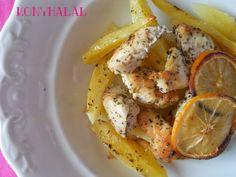 Görög citromos csirke Shrimp, Potatoes, Cooking Recipes, Banana, Meat, Chicken, Fruit, Vegetables, Foods