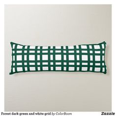 Forest dark green and white grid body pillow Black And White Pillows, Black White, Green Cushions, Pillow Room, White Home Decor, Decorative Cushions, Soft Fabrics, Grid, Vibrant Colors