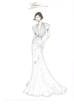 Lights, Cannes, Action: Red Carpet Style  Elizabeth McGovern at the 65th Cannes Film Festival - Sketch by Gucci