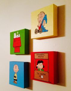A set of 4 Peanut's Character Hand Painted Acrylic Canvas