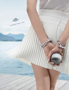 """Hermes has released a new campaign for their spring/summer 2013 collection, and the motto is """"A Sporting Life! The campaign, modelled by Iselin Steiro, Fashion Advertising, Advertising Campaign, The Sporting Life, Hermes Bracelet, Summer Campaign, Spring Summer, Hermes Paris, Foto Pose, Fashion Models"""