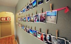 Picture wall for narrow hallway. by carole camera, printer that docks camera, photo paper, ribbon and clips for this picture wall idea Uni Room, College Room, College Life, Kids Room, Photowall Ideas, Diy Crafts For Teens, Kids Diy, 4 Kids, Dorm Life