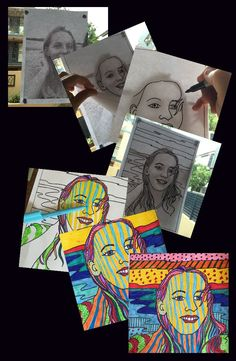 Simply the best Art lesson to the start off the year. All About Me Art, All About Me Project, Pop Art Kids, Art For Kids, Art School, Middle School Art Projects, About Me Activities, Art Activities, Self Portrait Kids
