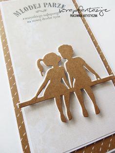 ślubny craft :) scrapfantazje wedding card, clean&simple