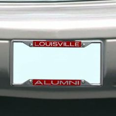 NCAA Louisville Cardinals License Plate Frame Alumni by Stockdale. $15.89. Chrome Metal License Plate Frame. Officially Licensed NCAA Product. Made in USA. Laser-Cut Mirrored Acrylic Inserts. Hand Inlaid Mirrored Acrylic. Chrome Metal License Plate Frame with Inlaid Mirrored Acrylic Inserts. Save 12% Off!