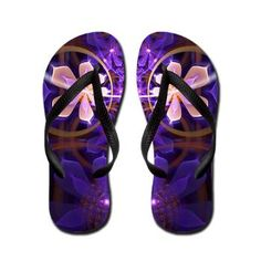 Purple Flower Flip Flops