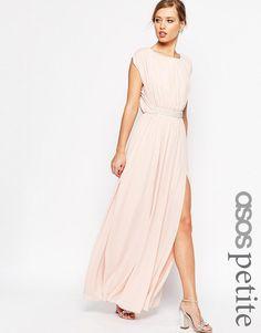 Image 1 ofASOS PETITE Embellished Waist Maxi Dress