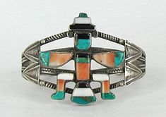 Authentic Vintage Native American Sterling Silver Zuni Split Shank Inlay Knifewing Bracelet