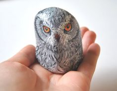 Hand Painted Stone  Owl River rock Artwork by LadyBugCo on Etsy, $10.00