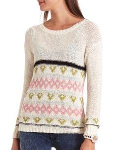 geo stripe pullover sweater