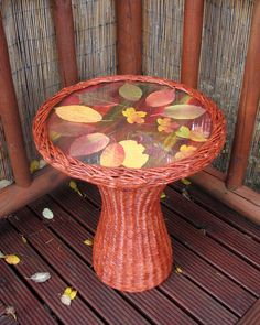 Upcycled coffee table handmade from newspapers / paper wicker