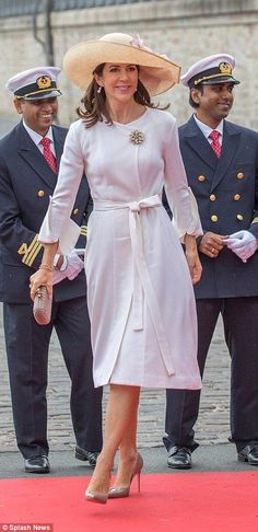 Princess Mary of Denmark giggles with Johan Wedell-Wedellsborg at christening of ship | Daily Mail Online